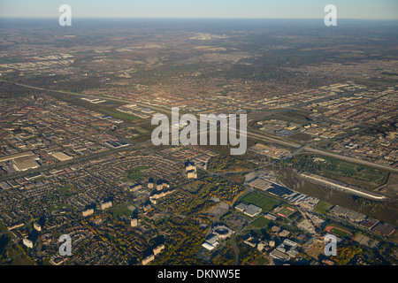 Aerial view north west York University with highway 407 and 400 Toronto and Vaughan Canada - Stock Photo