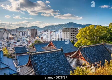 Temple rooftops in Nagasaki, Japan. - Stock Photo