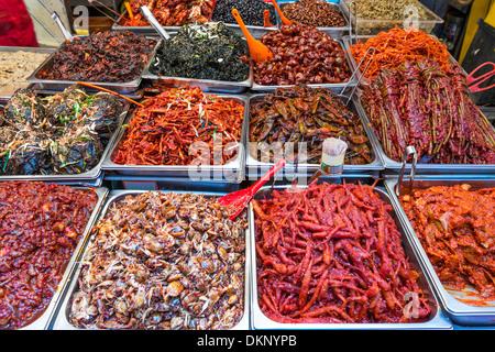 Food on display at Gwangjang Market in Seoul, South Korea. - Stock Photo