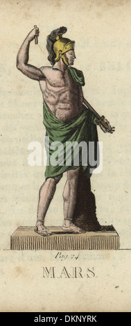 Mars, Roman god of war, with helmet and sword. - Stock Photo