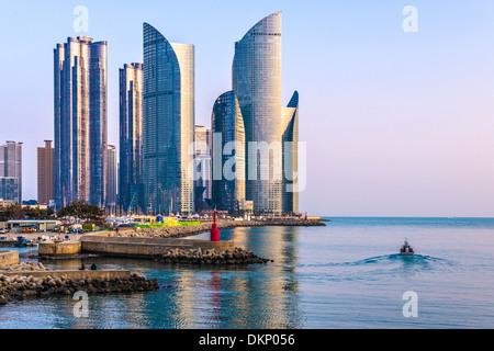 Busan, South Korea cityscape in the Haeundae District. - Stock Photo