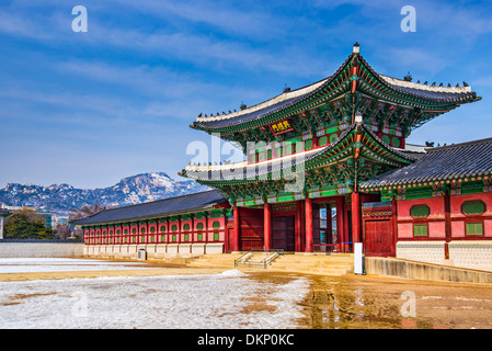 Gyeongbokgung Palace grounds in Seoul, South Korea. - Stock Photo