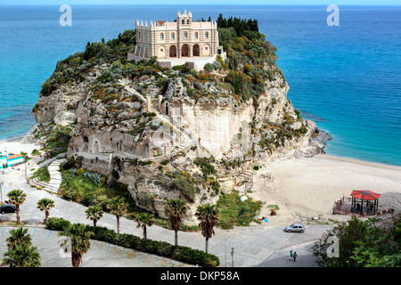 Church Santa Maria dell Isola on Isola Bella, Tropea, Calabria, Italy - Stock Photo
