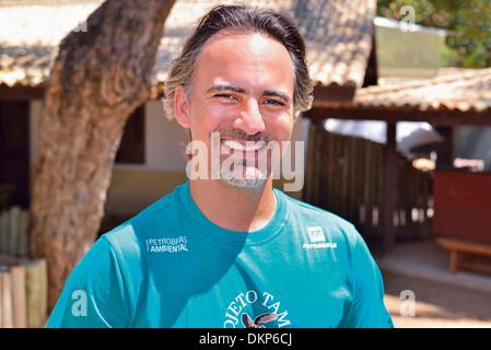 Brazil, Bahia: Manager Gonzalo Rostan posing for camera in the Sea Turtle Project Tamar in Praia do Forte - Stock Photo