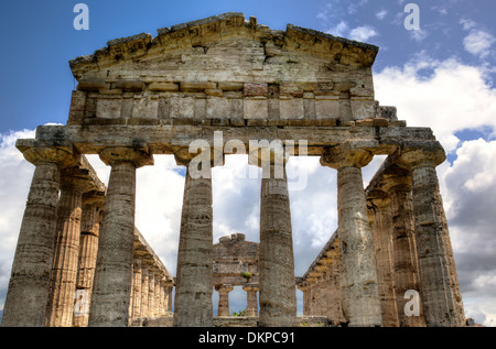 Temple of Athena (500 BC), Paestum, Campania, Italy - Stock Photo
