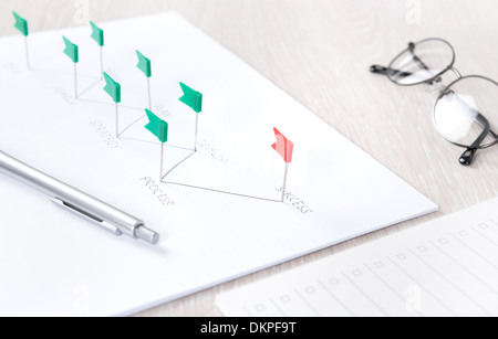 Business concept of planning process and further analyzing of development strategy achieving success on a modern - Stock Photo