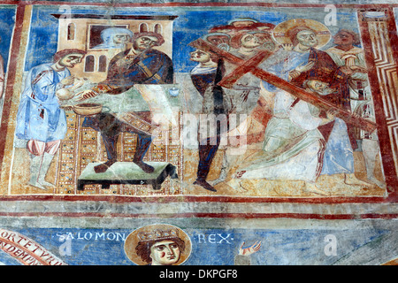 Mural painting, abbey church, Sant Angelo in Formis, Campania, Italy - Stock Photo