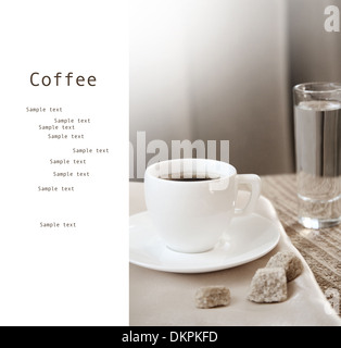 Toned in beige colors image, cup of dark coffee, white background with sample text - Stock Photo