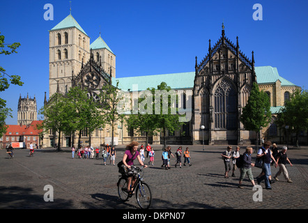 Muenster Cathedral, Muensterland, North Rhine Westphalia, Germany - Stock Photo