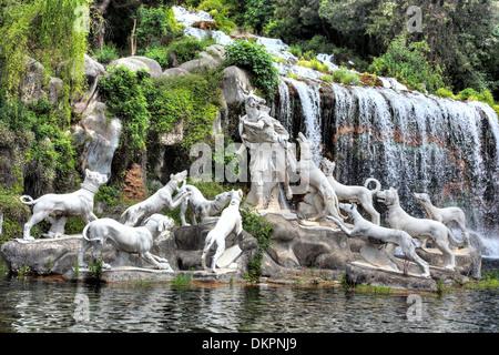 Diana and Actaeon Fountain, Royal Palace of Caserta, Campania, Italy - Stock Photo