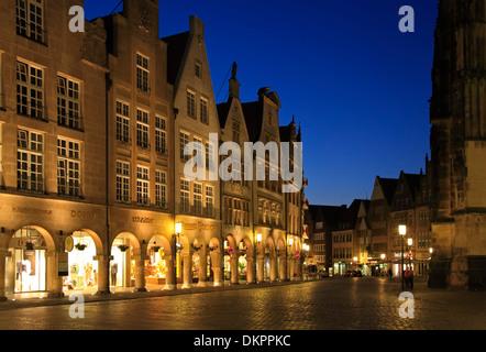 Prinzipialmarkt in the evening, Muenster, Muensterland, North Rhine Westphalia, Germany - Stock Photo