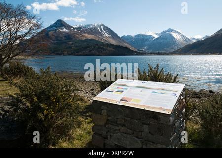 Geology interpretive board on Loch Leven overlooking the Pap of Glencoe, Bidean nam Bian and Glencoe, Highland, - Stock Photo