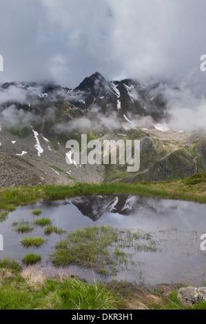 Europe Tyrol Tirol uplands Austria Alps alpine mountain mountain landscape mountain lake mountain scenery landscape - Stock Photo