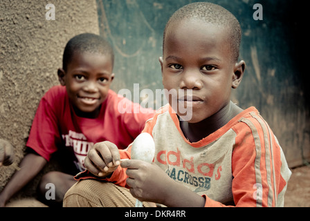 Street children in Kampala, Uganda, East Africa, Africa - Stock Photo