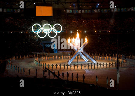 Feb. 12, 2010 - Vancouver, British Columbia, Canada - OLYMPICS OPENING CEREMONY -  The Olympics Cauldron flame burns - Stock Photo