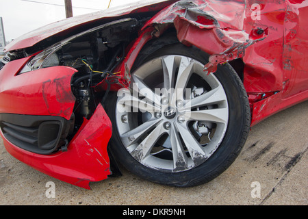 red, Hyundai, accident, car, damage, USA - Stock Photo