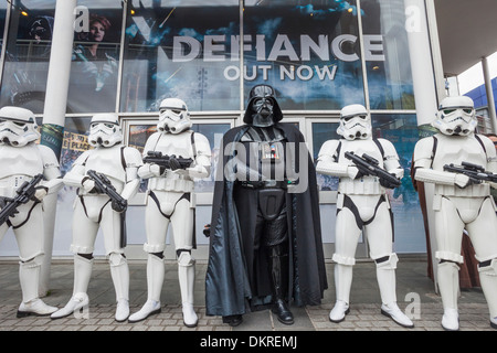 England, London, Stratford, Annual Sci-fi Costume Parade, Star Wars, Darth Vader and Stormtroopers - Stock Photo