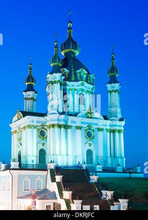 Dusk view of Saint Andrew's Church in Kiev, the capital of Ukraine. - Stock Photo