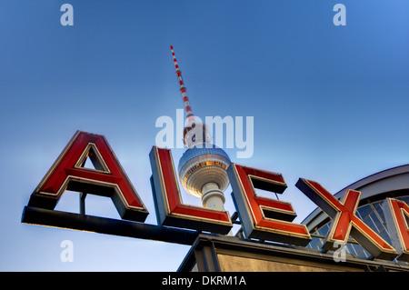 Alexanderplatz and the TV Tower, Berlin, Germany - Stock Photo