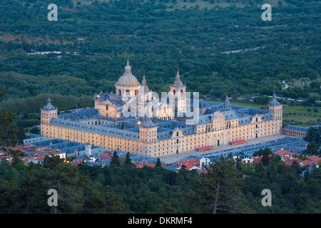 world heritage El Escorial Monastery Escorial architecture city entrance landscape main Spain Europe spring touristic - Stock Photo