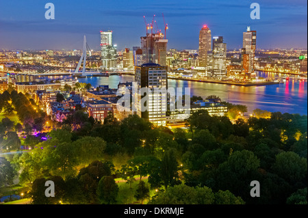 Rotterdam skyline at night, Netherlands - Stock Photo