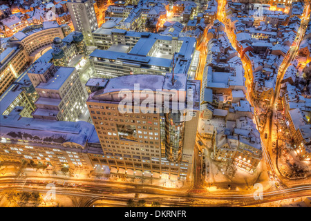 View from Jentower to Ernst-Abbe Platz and the building B59, Jena, Thuringia, Germany, Europe - Stock Photo