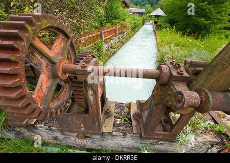 Austria Austria Salzburg water way drinking water water supply canal channel alp canal alp arm sluice floodgate - Stock Photo