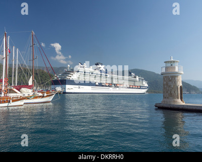 Cruise ship docked in Marmaris harbour Turkey - Stock Photo