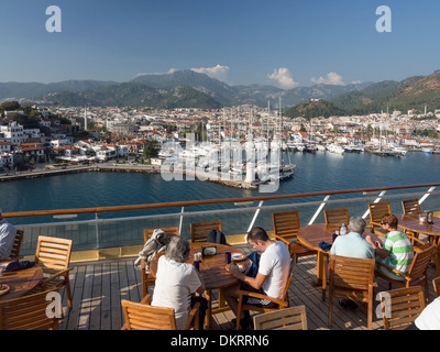 Looking over Marmaris from deck of cruise ship - Stock Photo