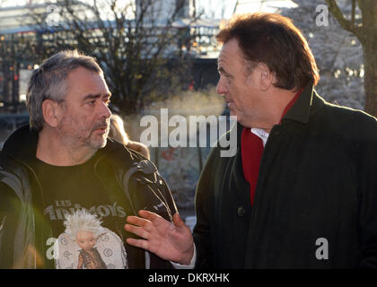 Rust, Germany. 09th Dec, 2013. French director Luc Besson (L) talks to managing director of Europa Park Roland Mack - Stock Photo