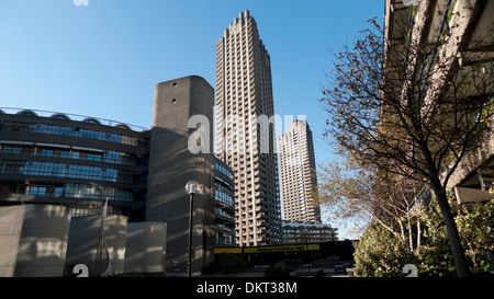 A view of the Barbican Estate flats housing tower blocks built by Chamberlin Powell in 1960s London UK  KATHY DEWITT