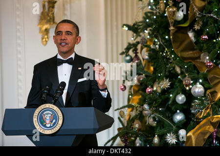Washington, DC. 8th Dec, 2013. United States President Barack Obama delivers remarks during a reception at the White - Stock Photo