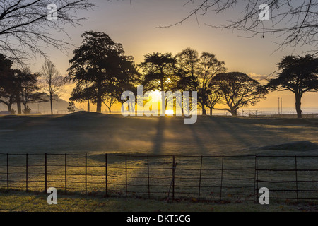 Early morning mist over Torre Abbey,Torquay,devon,water, outdoor, sunlight, sunbeam, coast, warm, nobody, seaside, - Stock Photo