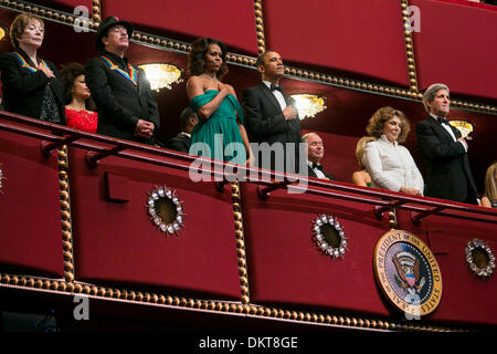 United States President Barack Obama and First Lady Michelle Obama attend the 2013 Kennedy Center Honors on December - Stock Photo