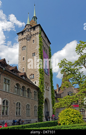 Europe Switzerland CH Zurich Old Town Museumstrasse Swiss national museum architecture castles buildings constructions - Stock Photo