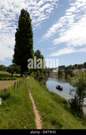 Amboise, France, in summertime looking down the Loire river with a boat and a tall tree beside the footpath - Stock Photo