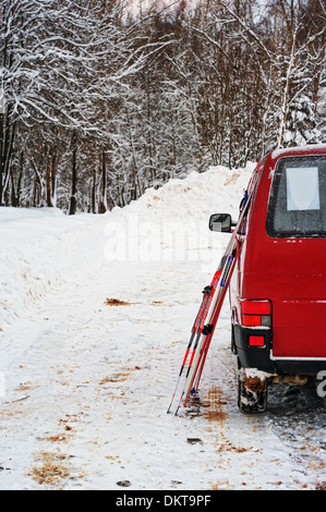 Winter skis in park - arrived on the car. - Stock Photo