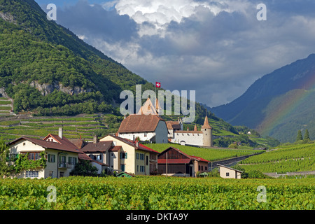 Europe Switzerland CH Vaud Aigle Chemin du Golliez castle Aigle castle place wine vineyards rainbows architecture - Stock Photo