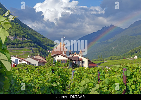 Europe Switzerland CH Vaud Aigle Chemin du Chateau castle Aigle castle place wine vineyards rainbows architecture - Stock Photo