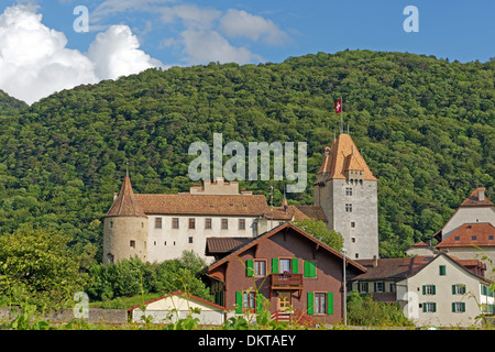 Europe Switzerland CH Vaud Aigle avenue Veillon castle Aigle castle place architecture trees castles buildings constructions - Stock Photo