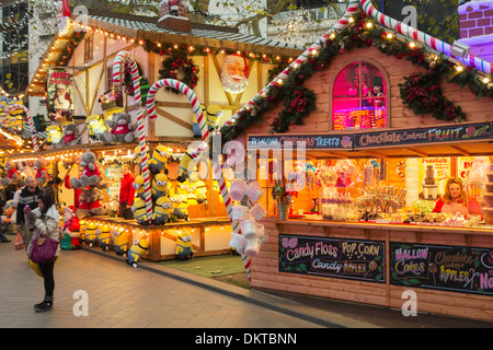 Christmas market stalls in Leicester Square, London, England - Stock Photo