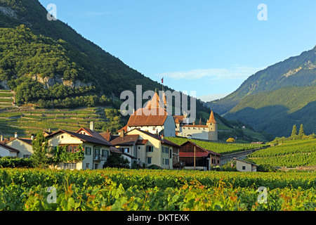 Europe Switzerland CH Vaud Aigle Chemin du Golliez castle Aigle castle place wine vineyards architecture trees castles - Stock Photo