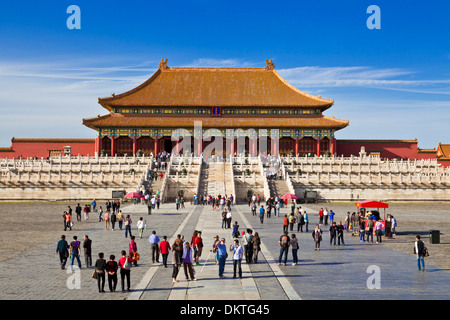 Tourists on the courtyard at the Hall of Supreme Harmony, Outer Court, Forbidden City, Beijing, Peoples Republic - Stock Photo