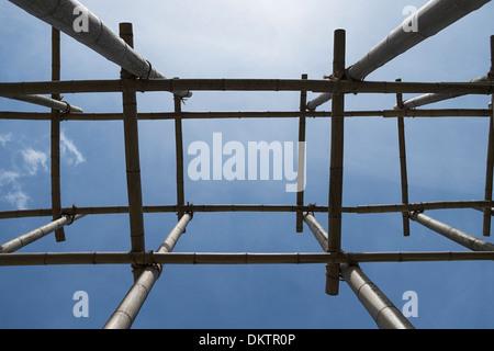 Bamboo scaffolding, stability, IGS Hamburg, Wilhelmsburg , Hamburg, Germany - Stock Photo