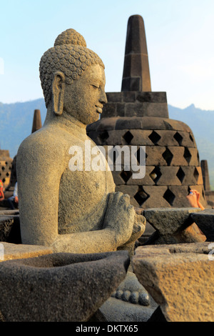Mahayana Buddhist Temple (8th century), Borobudur, near Magelang, Central Java, Indonesia - Stock Photo