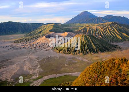 Sunset view of mount Bromo from Penanjakan mountain (2770 m), Bromo Tengger Semeru National Park, Java, Indonesia - Stock Photo