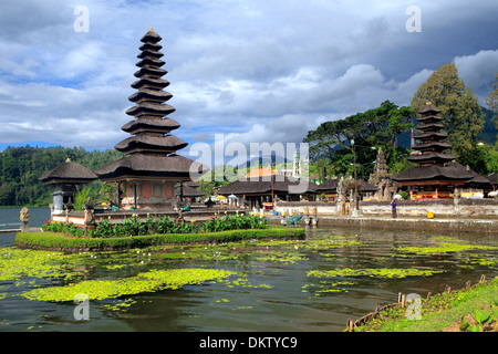 Pura Ulun Danu Bratan temple, Candikuning, lake Bratan, Bali, Indonesia - Stock Photo
