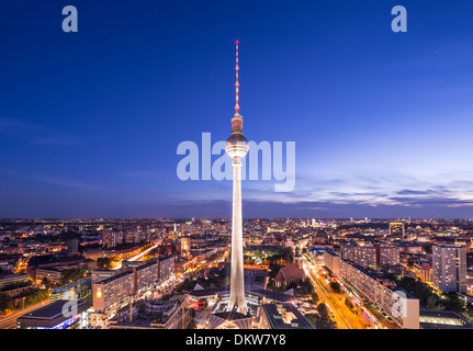 Cityscape of Berlin, Germany at Alexanderplatz. - Stock Photo