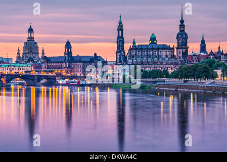 Dresden, Germany above the Elbe River at dawn. - Stock Photo