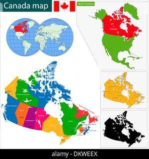 outline map of the Canadian Manitoba province with flag Stock